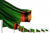 Wonderful Many Zambia Flags Placed Diagonal Isolated On White With Place For Your Text - Any Occasio poster