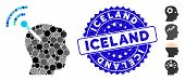 Mosaic Radio Neural Interface Icon And Rubber Stamp Watermark With Iceland Caption. Mosaic Vector Is poster