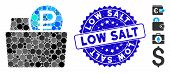 Mosaic Rouble Wallet Icon And Rubber Stamp Watermark With Low Salt Phrase. Mosaic Vector Is Designed poster