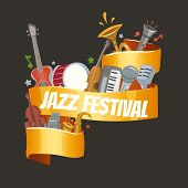 Jazz Festival Or Party With Musical Instruments Saxophone, Electric Piano And Double-bass Player And poster