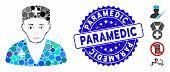 Mosaic Medic Icon And Rubber Stamp Watermark With Paramedic Phrase. Mosaic Vector Is Formed With Med poster