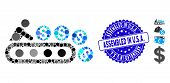 Mosaic Money Production Icon And Grunge Stamp Seal With Assembled In U.s.a. Text. Mosaic Vector Is D poster