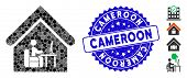 Mosaic Office Room Icon And Rubber Stamp Seal With Cameroon Caption. Mosaic Vector Is Created With O poster