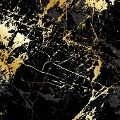 Trendy Black Marble With Gold, Great Design For Any Purposes. Golden Abstract Modern Natural Luxury- poster