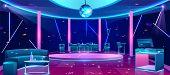 Nightclub Interior With Bright Neon Illumination, Stools Near Bar Counter, Comfortable Sofa, Alcohol poster