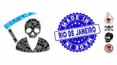 Mosaic Scytheman Icon And Distressed Stamp Seal With Made In Rio De Janeiro Text. Mosaic Vector Is C poster