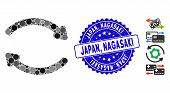 Mosaic Refresh Icon And Distressed Stamp Watermark With Japan, Nagasaki Caption. Mosaic Vector Is Co poster