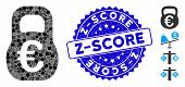 Mosaic Euro Weight Icon And Rubber Stamp Seal With Z-score Text. Mosaic Vector Is Composed With Euro poster