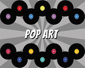 Pop Art Background With Rays And Vinyl Disks. Vintage Poster Of Vinyl Player Record. Vector Retro Mu poster