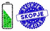 Mosaic Battery Level Icon And Rubber Stamp Seal With Skopje Caption. Mosaic Vector Is Composed From  poster