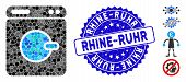 Mosaic Washing Machine Icon And Distressed Stamp Seal With Rhine-ruhr Caption. Mosaic Vector Is Comp poster