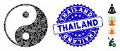Mosaic Yin Yang Icon And Distressed Stamp Seal With Thailand Phrase. Mosaic Vector Is Created With Y poster