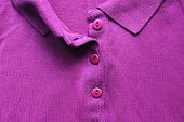 Unbuttoned Violet Polo Shirt, Casual Clothes Close Up. Vivid Colorful Purple Color T-shirt, Plain Vi poster