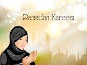 picture of namaz  - Ramadan Kareem or Ramazan Kareem background with Muslim girl in hijab reading Namaz and Mosque or Masjid illustration - JPG