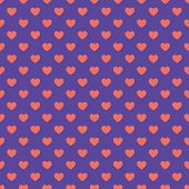 Hearts Pattern In Trendy Violet And Orange Colors For Valentines Day, Birthday Etc. Flat Style. Tren poster