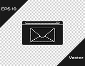 Grey Mail And E-mail Icon Isolated On Transparent Background. Envelope Symbol E-mail. Email Message  poster