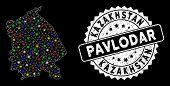 Bright Mesh Pavlodar Region Map With Glare Effect, And Stamp. Wire Frame Triangular Pavlodar Region  poster