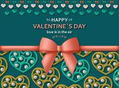 Happy Valentine Day Background With Glossy Hearts. Greeting Card And Love Template poster