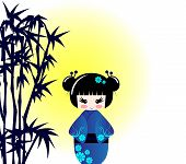 Kokeshi Doll And Bamboo