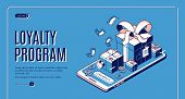 Loyalty Program Isometric Web Banner. Gift Boxes Lying On Giant Smartphone With Cashback Button. Onl poster