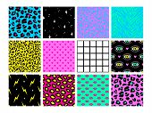 Set Of Seamless Patterns In Trendy Acid Psychedelic Cosmic Style. poster