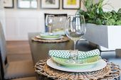Dining Table with Place Settings. poster