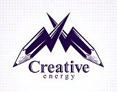 Creative Energy Power Concept Shown By Two Pencils In A Shape Of Lightning Bolts Crossed, Vector Log poster