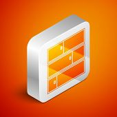 Isometric Shelf Icon Isolated On Orange Background. Shelves Sign. Silver Square Button. Vector Illus poster