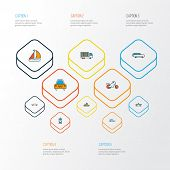 Transport Icons Colored Line Set With Cabriolet, Suv, Motorcycle And Other Vessel Elements. Isolated poster