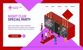 Enter A Club Concept Landing Web Page Template 3d Isometric View View Include Of People Crowd And Bu poster