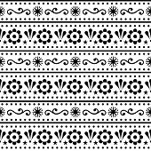 Scandinavian Style Folk Art Seamless Vector Pattern, Repetitive Floral Cute Nordic Design In Black O poster