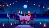 Couple At Night Beach Romantic Date Dinner, Man Holding Woman Hand Sitting At Served Table On Seasid poster
