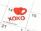 picture of xoxo  - valentines date on calender with xoxo and hearts - JPG