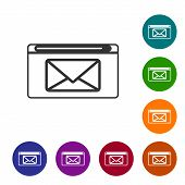 Grey Line Mail And E-mail Icon Isolated On White Background. Envelope Symbol E-mail. Email Message S poster