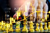 Chess Game On Chess Board On Stock Market Or Forex Trading Graph Chart For Financial Investment Conc poster