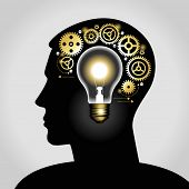 silhouette of a man's head with a glowing light bulb, and gears. the concept of making big idea. Fil