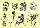 foto of minotaur  - black and white hand drawings of mythological characters - JPG