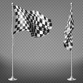 Realistic Set Of Two Racing Flags On Steel Poles Isolated On Background. Checkered Waving Canvas To  poster
