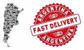 Delivery Mosaic Argentina Map And Distressed Stamp Watermark With Fast Delivery Text. Argentina Map  poster