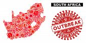 Viral Collage South African Republic Map And Red Rubber Stamp Seal With Outbreak Phrase. South Afric poster