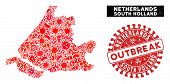 Infectious Mosaic South Holland Map And Red Rubber Stamp Watermark With Outbreak Words. South Hollan poster