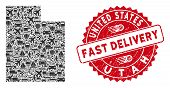 Transport Collage Utah State Map And Grunge Stamp Seal With Fast Delivery Badge. Utah State Map Coll poster