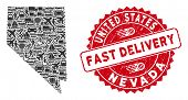Transportation Collage Nevada State Map And Rubber Stamp Seal With Fast Delivery Words. Nevada State poster