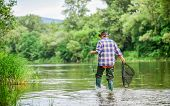Calling Fly-fishing A Hobby. Fisherman With Fishing Rod. Retired Bearded Fisher. Trout Bait. Hobby A poster