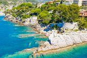 Rocky Coast In Camogli, Italy. Aerial View On Adriatic Seaside, Liguria. poster