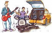 stock photo of subwoofer  - Two street musicians are playing their music - JPG