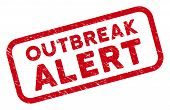 Outbreak Alert Rectangle Framed Watermark. Red Vector Rectangle Distress Seal Stamp With Outbreak Al poster