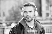 While Walk. Online Education Courses. Listen Music. Ebook Audio Concept. Student Study Use Headphone poster