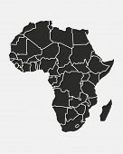 Africa Map With Regions Isolated On A White Background. Africa Map Background. Vector Illustration poster