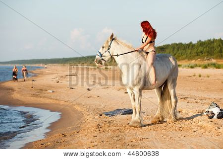 Woman With Horse At The Beach